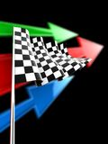 Checkered Flag. With green, blue and red arrows on black background Royalty Free Stock Images