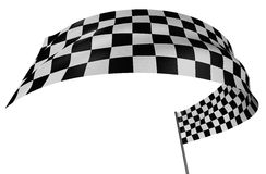 Checkered Flag. Large Checkered Flag with fabric surface texture. White background Stock Image