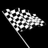 Checkered Flag. On black background Stock Photography