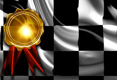 Checkered flag. With a gold medal on top Stock Images