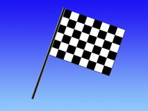 Checkered flag. Isolated on blue background Stock Photos