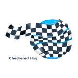 Checkered flag around globe. Checkered waved flag around globe illustration royalty free illustration