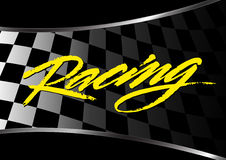 Checkered flag background with racing script Stock Photo