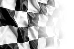 Checkered flag. Checkered black and white flag on white Stock Photos
