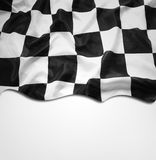 Checkered flag. Checkered black and white flag. Copy space Stock Photo