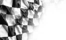 Checkered flag. Checkered black and white flag. Copy space royalty free stock photos