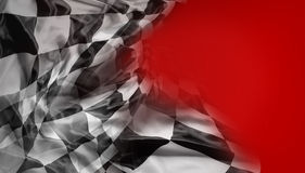 Checkered flag. Checkered black and white flag on red background Stock Photo