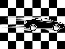 Checkered flag and car. Checkered flag and car on a white background Royalty Free Stock Photography