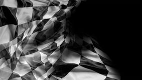 Checkered flag. Checkered racing flag on black Royalty Free Stock Photos