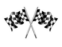 Checkered Flag, Chequered Flags Motor Racing. Checkered Flag, Rippled black and white crossed chequered flag used at the start or Finnish of a race royalty free illustration