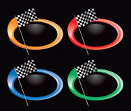 Checkered flag on colored rings Royalty Free Stock Photography