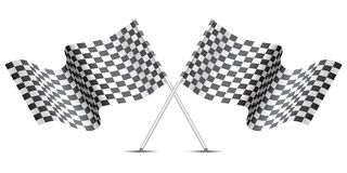 Checkered flag crossed on white for sport race championship vector. Checkered flag crossed on white for sport race championship vector illustration Stock Images