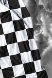 Checkered flag on a day bad background Royalty Free Stock Photo