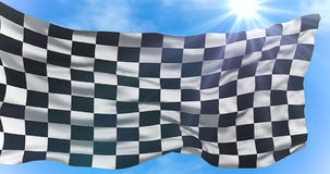 Checkered flag, end race background, formula one competition under sun rays light Royalty Free Stock Photos
