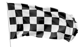 Checkered flag on flagpole Stock Images