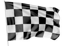 Checkered flag on flagpole Stock Photography