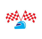 Checkered Flag And Helmet Stock Images