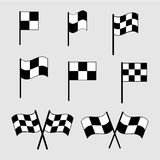 Checkered flag icons. Finish signs set illustration Royalty Free Stock Photography