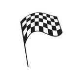 Checkered flag illustration. Flying checkered flag, illustration design, isolated on white background Stock Photography