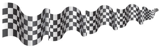 Checkered flag long size flying on white background vector. Royalty Free Stock Images