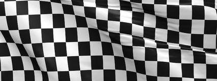 Checkered flag, race flag background. Waving race flag using as background, 3d rendering panorama Royalty Free Stock Image