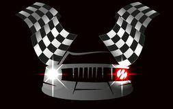 Checkered flag racing. Checkered flag and car racing . Stock vector illustration. Clip art Stock Photo