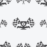 Checkered Flag or racing flags icon seamless pattern first place prize. Cup and finish ribbon. Sport auto, speed and success, competition and winner, race rally Stock Photos