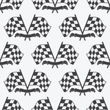 Checkered Flag seamless pattern, racing flags icon and finish ribbon. Stock Images