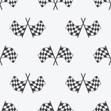 Checkered Flag seamless pattern, racing flags icon and finish ribbon. Sport auto, speed and success, competition and winner, race Stock Photo