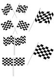 Checkered flag set. Isolated on white - vector illustration Stock Image