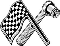 Checkered flag socket wrench Royalty Free Stock Image
