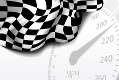 Checkered flag. With speedometer on background.  Vector illustration Royalty Free Stock Images