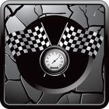 Checkered flag and speedometer on cracked web icon Royalty Free Stock Photos