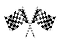 Checkered Flag Sports Chequered Flags Motor Racing. Two black and white crossed racing checkered sports flags for the start or finish of a race Royalty Free Stock Photos