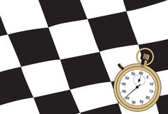 Checkered flag with a stopwatch Royalty Free Stock Images