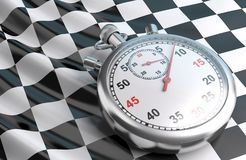 Checkered flag and stopwatch. Royalty Free Stock Image