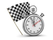 Checkered Flag and Stopwatch. This is a 3d rendered computer generated image. Isolated on white Stock Photo