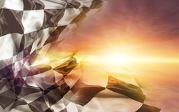Checkered flag and sun. Checkered flag and bright sky stock images
