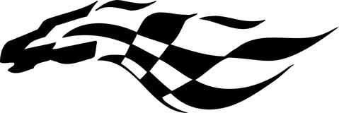 Checkered flag - symbol racing. Racing emblem - black and white style of tribals Royalty Free Stock Photo