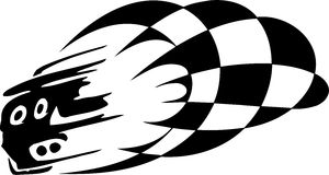 Checkered flag - symbol racing. Racing emblem - black and white style of tribals Stock Image