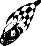 Checkered flag - symbol racing. Racing emblem - black and white style of tribals Stock Photos