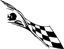 Checkered flag - symbol racing. Racing emblem - black and white style of tribals Royalty Free Stock Images