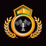 Checkered flag and trophy on gold royal crest. Racing checkered flag and trophy on gold royal crest vector illustration