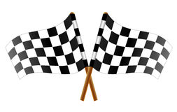 Checkered flag. Two crossed checkered flags, vector art illustration flags for car racing Stock Photography