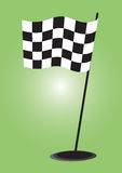 Checkered flag - vector. Auto racing checkered flag on a gradient background, vector Royalty Free Stock Photo