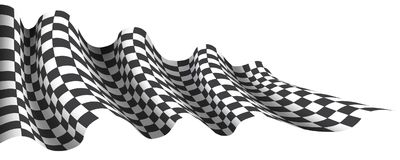 Checkered flag wave flying on white for sport race championship business background vector stock illustration