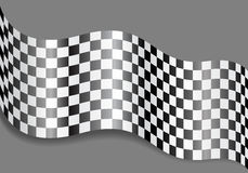 Checkered flag wave on gray design for race background vector. Stock Photo