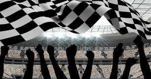 Checkered flag waving in stadium. Digitally generated of checkered flag waving in stadium Stock Photo