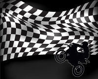 Checkered flag with wheelie motorbike Royalty Free Stock Image