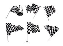 Checkered Flags. Set illustration on white background Stock Image